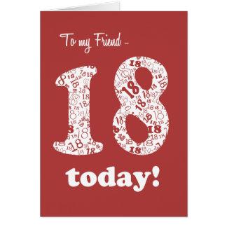 Cartão Vermelho chique, aniversário do branco 18o para o