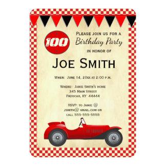 Cartão vermelho da bandeira do carro de corridas