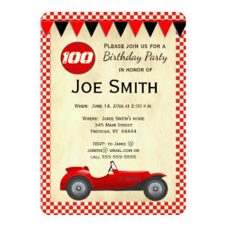 Cartão vermelho da bandeira do carro de corridas convite 12.7 x 17.78cm