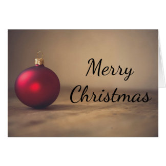 Cartão Cartão vermelho da decoração do baubel do Natal