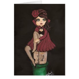 Cartão vermelho da menina de Cutie do quantum do