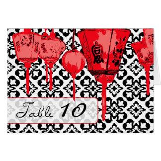 Cartão vermelho da mesa das lanternas