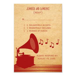 Cartão vermelho da resposta do gramofone do convite personalizados