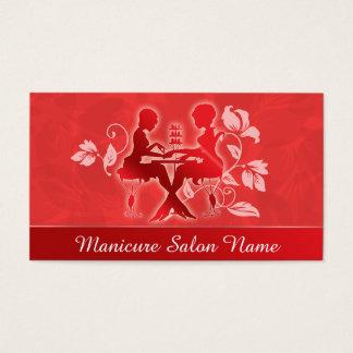Cartão vermelho da silhueta da profissão do salão