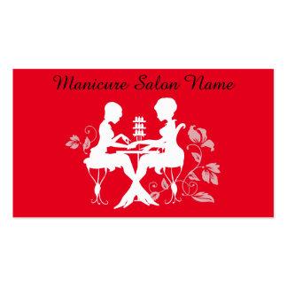 Cartão vermelho da silhueta da profissão do salão cartão de visita