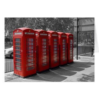 Cartão vermelho das caixas de telefone de Londres