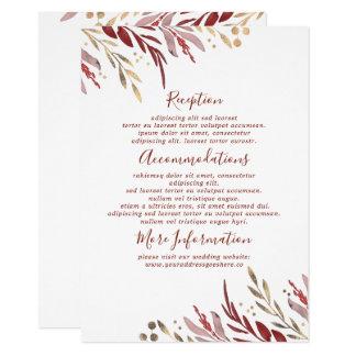 Cartão Vermelho de Borgonha e convidado da informação do