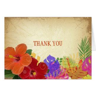 Cartão Vermelho de PixDezines+hibiscus alaranjado+folhas