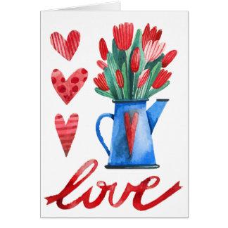 Cartão vermelho do amor dos corações das flores