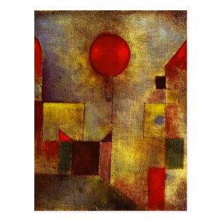 Cartão vermelho do balão de Paul Klee Cartão Postal