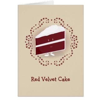 Cartão vermelho do bolo   de veludo