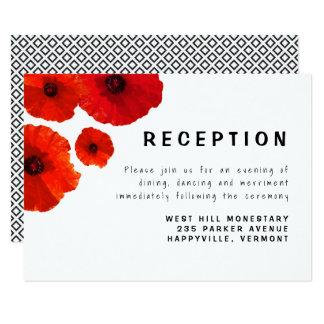 Cartão vermelho do cerco da recepção das papoilas convite 8.89 x 12.7cm