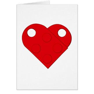 Cartão vermelho do coração do bloco de