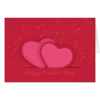 Cartão vermelho do dia das mães dos corações