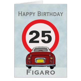 Cartão vermelho do feliz aniversario do carro de
