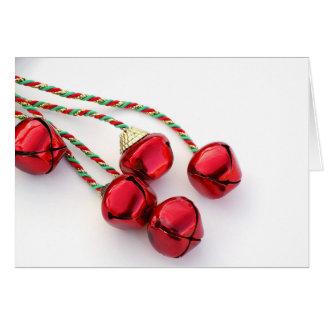 Cartão vermelho do feriado de Bels de Natal