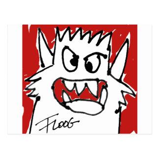 Cartão vermelho do monstro dos desenhos animados cartoes postais