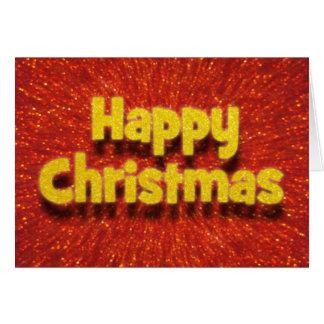 Cartão vermelho do Natal feliz do efeito 3D/cartão faísca