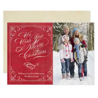 Cartão Vermelho do natal vintage  