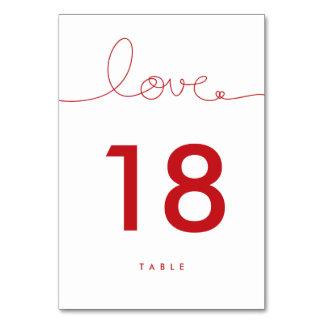 Cartão vermelho do número da mesa do casamento do