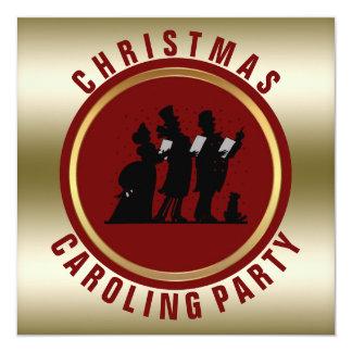 Cartão Vermelho do ouro da festa natalícia | das canções