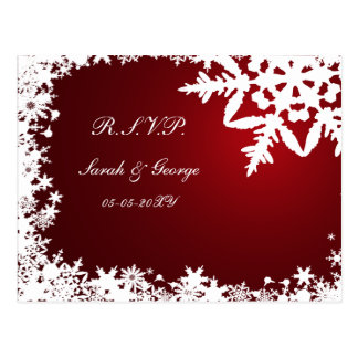 cartão vermelho do rsvp do casamento no inverno