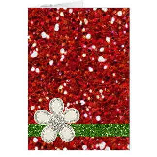 Cartão vermelho dos brilhos do Natal
