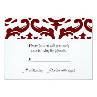 Cartão vermelho e branco do casamento tema damasco convite 8.89 x 12.7cm