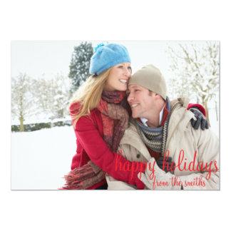 Cartão vermelho e branco do feriado da foto de convite 12.7 x 17.78cm