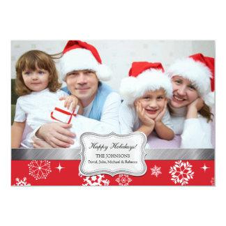 Cartão vermelho e branco do feriado da foto dos convite personalizado