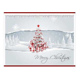 Cartão vermelho e branco moderno do Natal do feria Cartao Postal