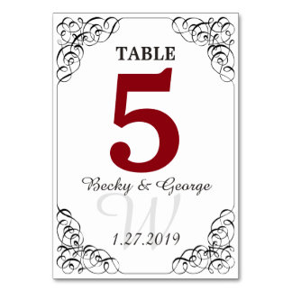 Cartão vermelho e branco vertical da mesa