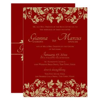 Cartão Vermelho e casamento do emblema do damasco do ouro