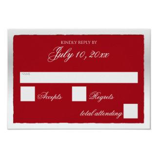 Cartão vermelho e de prata da resposta convite 8.89 x 12.7cm