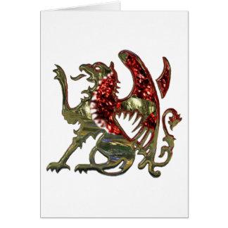 Cartão Vermelho e metal brilhante Griffon do ouro