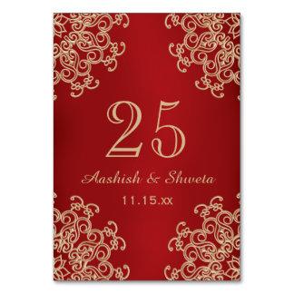 Cartão Vermelho e número indiano do casamento do estilo