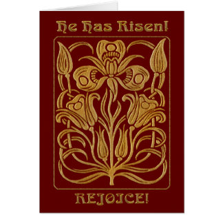 Cartão Vermelho e ouro de tijolo da páscoa de Roycroft