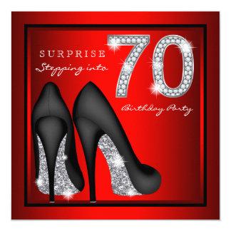 Cartão Vermelho e prata da festa de aniversário do 70 da