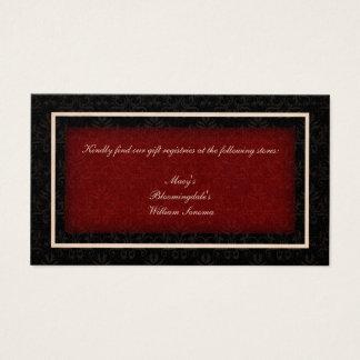 Cartão vermelho e preto da lista de presentes do