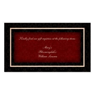 Cartão vermelho e preto da lista de presentes do c cartões de visitas