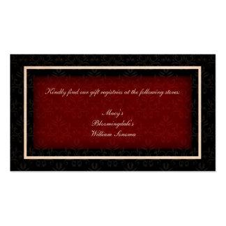 Cartão vermelho e preto da lista de presentes do cartão de visita