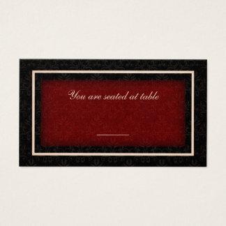 Cartão vermelho e preto do assento da mesa do