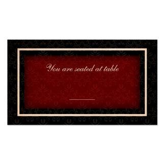 Cartão vermelho e preto do assento da mesa do cartão de visita