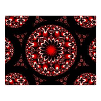 Cartão vermelho e preto simétrico das flores