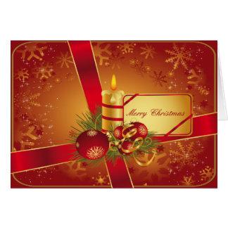 Cartão Vermelho e vela do feriado do ouro