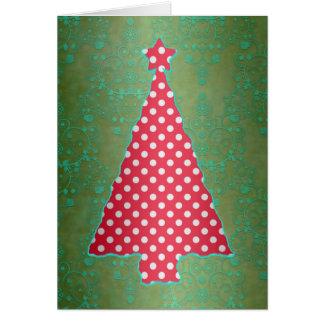 Cartão vermelho e verde da árvore de Natal das