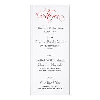 Cartão vermelho elaborado do menu do casamento convite 10.16 x 23.49cm