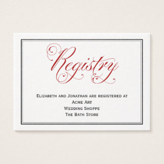 Cartão vermelho elaborado do registro do casamento