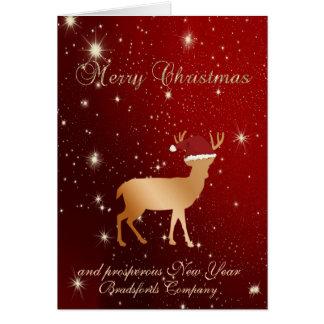 Cartão Vermelho elegante, chapéu de Sant dos cervos do