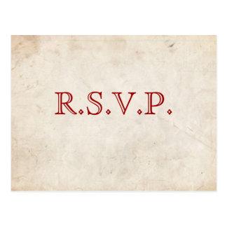 Cartão vermelho elegante do pergaminho RSVP Cartão Postal